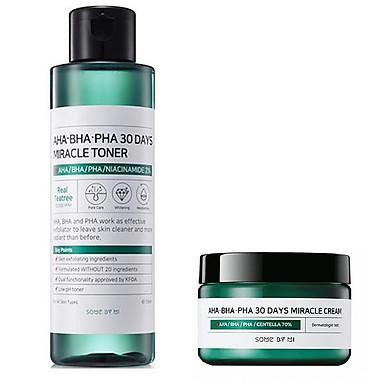 Combo Toner + Kem ngăn ngừa mụn Some By Mi AHA-BHA-PHA 30 Days Miracle Toner Cream