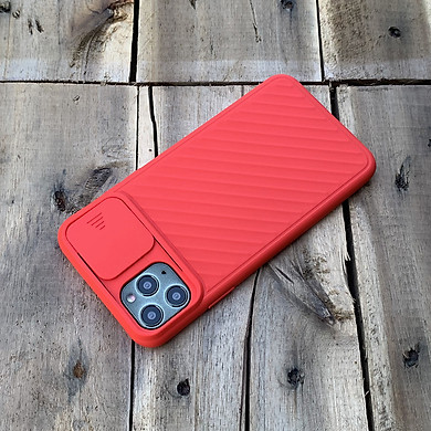 Ốp lưng kéo nắp camera cao cấp dành cho iPhone 11 Pro - Màu Đỏ