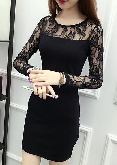 Đầm dự tiệc nữ dáng ôm phối ren da64