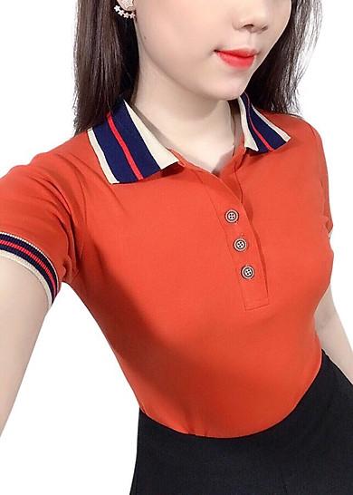 áo thun nữ cao cấp có cổ đỏ viền đen 3