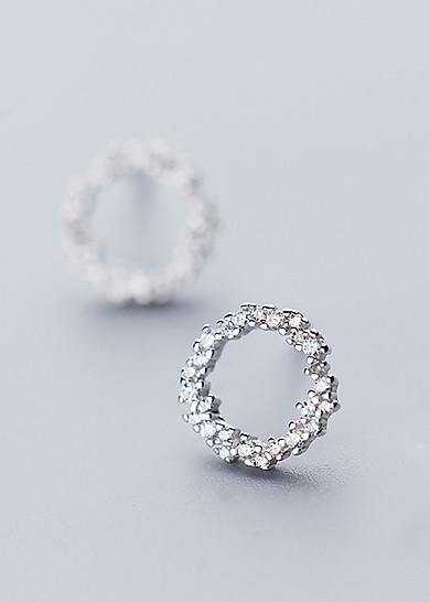 Khuyên Tai Round Diamond D2527Kt - Bạc