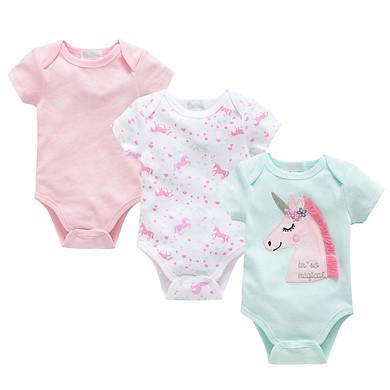 Fun 3Pcs/set Infant Baby Romper Jumpsuit Short Sleeve Cute Cartoon Toddler Boy Girl Clothing