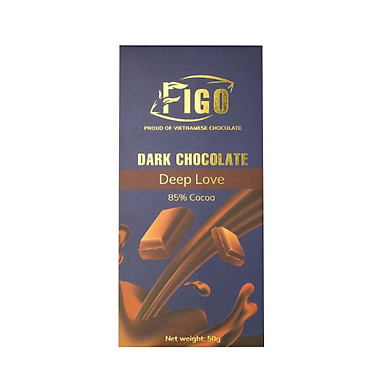 Socola đen 85% cacao ít đường, giảm cân 50g Figo