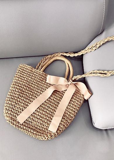 Túi cói nơ hồng thời trang