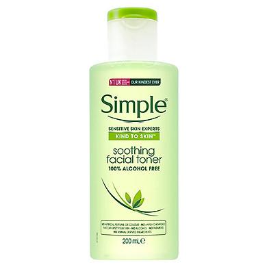 Nước hoa hồng Simple Kind To Skin Soothing Facial Toner 200ml