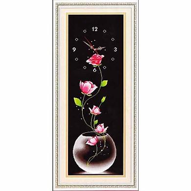Tranh thêu chữ thập Đồng hồ- Bình Hoa (40*100cm) chưa thêu
