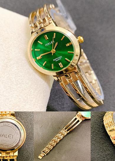 Đồng hồ Nữ Halei Dấng Lắc Tròn HL5010  Dây Vàng + Tặng Combo TẨY DA CHẾT APPLE WHITE PELLING GEL BEAUSKIN chính hãng