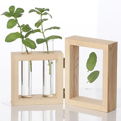 Gobestart Creative Hydroponic Plant Transparent Vase Wooden Frame Coffee Shop Room Decor