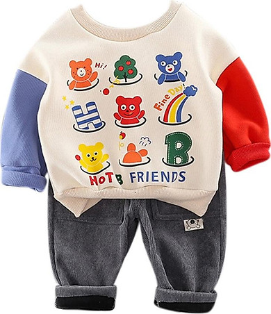 Baby Set 0-3T New Autumn Baby Girls Boys Long Sleeve Cartoon Print Sweatshirt Tops+Pants Trouser Casual Costume Set
