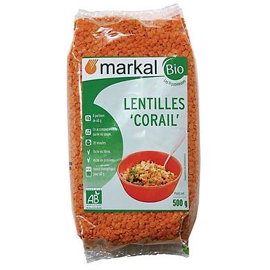 Đậu lăng đỏ cam san hô hữu cơ Markal 500g