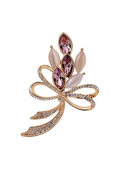 Trâm Cài Áo Hình Bó Hoa Đính Đá Sapphire Dịu Dàng Nữ Quí Phái
