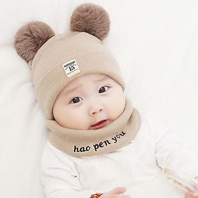 Mũ Len 2 Quả Bông Kèm Khăn Cho Bé ( Giao Màu Ngẫu Nhiên)