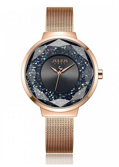 Đồng hồ nữ JA-1111 Julius Hàn Quốc dây lụa mặt viền ngọc