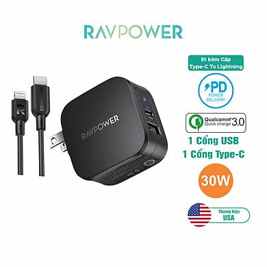 Bộ Củ Sạc PD 3.0 30W 2 Cổng Và Cáp Type-C to Lightning Chứng Nhận MFI RAVPower RP-PC144 Chuyên Cho iPhone, iPad – Hàng Chính Hãng