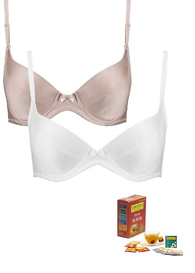 Combo 2 áo ngực Triumph D179 cúp chéo, có gọng nhựa , mút mỏng  nhiều màu tặng bộ sưu tập Trà Vinatea  túi lọc mix các vị