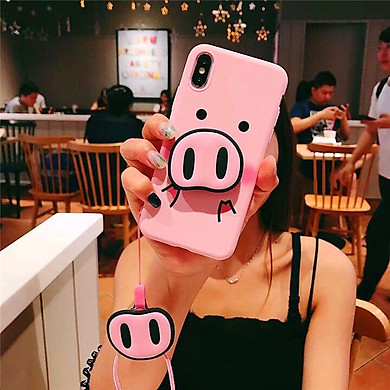 Ốp lưng hình mũi heo tặng kèm giá đỡ và dây đeo dành cho Iphone 6,6s,6 plus,6s plus,7,8,7plus,8 plus,X,XS,XR,XS Max