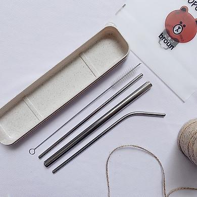 Set Hộp 3 Ống Hút Inox 304 Kèm Cọ Rửa Có Mix Màu Ngẫu Nhiên