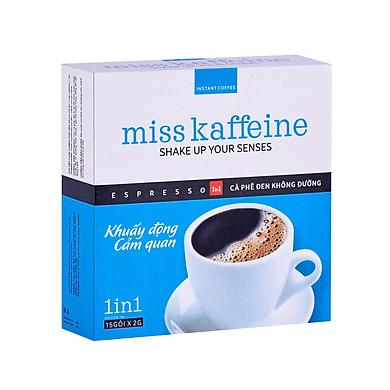Hộp cà phê hòa tan Miss Kaffeine 1in1 - Cafe Espresso không đường 15 gói x 2g – The Kaffeine Coffee