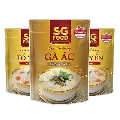Combo 3 Gói Cháo Tươi Bổ Dưỡng SG Food 2 Vị Tổ Yến Cá Hồi Và 1 Vị Gà Ác Nhân Sâm (240g/Gói)