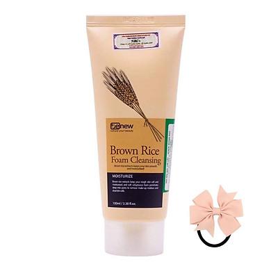 Sữa Rửa Mặt Hàn Quốc Tinh Chất Lúa Mạch Benew Brown Rice Foam Cleansing (100ml) – Hàng Chính Hãng [ Tặng dây cột tóc nơ - màu ngẫu nhiên ]