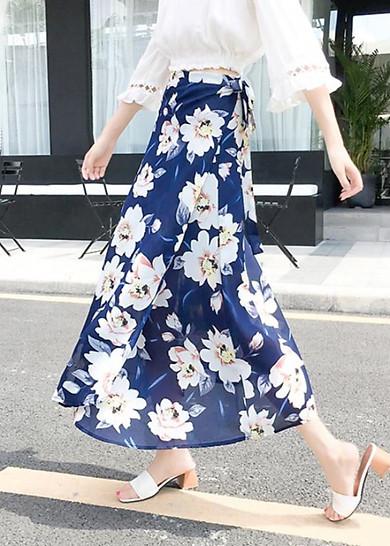 Chân váy maxi in hoa
