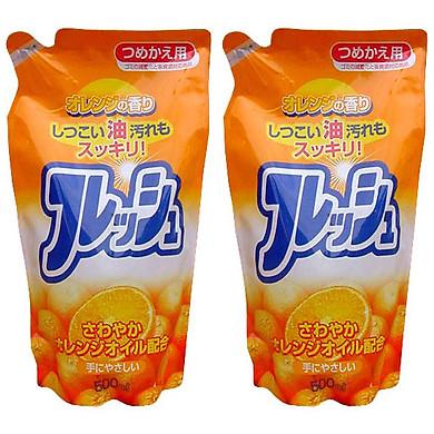 Combo 2 túi nước rửa chén hương cam loại túi 500 ml Rocket nội địa Nhật Bản