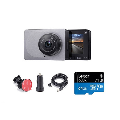 Combo Camera hành trình Xiaomi YI Car Smart Dash 1296p 2K - Phiên bản Quốc Tế , Kèm thẻ 128GB A1 4K Lexar  - Hàng chính hãng