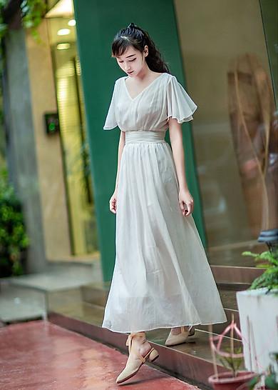 Váy Maxi Voan Trắng Đi Biển | Tiki.vn