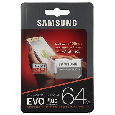 Thẻ Nhớ Micro SDXC Samsung Evo Plus 64GB Class 10 - 100MB/s (Kèm Adapter) - Hàng Nhập Khẩu