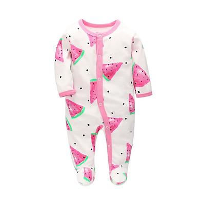 Summer Baby Boy Girl Romper Newborn Cartoon Printed Jumpsuit Long Sleeve Cotton Pajamas Footies Rompers Baby Clothes