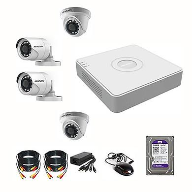 Bộ Camera HIKVISION 4 Mắt FULL HD 1080P – 2.0MPX Chính Hãng (Đủ phụ kiện lắp đặt + Ổ Cứng 500GB)