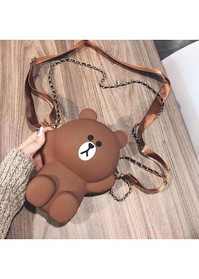 Túi đeo chéo Gấu Brown silicon siêu dễ thương