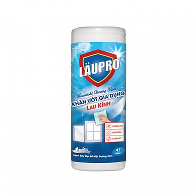 Khăn ướt Kháng Khuẩn CHỨA CỒN - Gia dụng Läupro – Lau kính –Loại bỏ 99.99% vi khuẩn gây hại - Hộp 45 Khăn (Laupro) - Được Chứng Nhận & Kiểm Nghiệm!