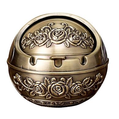 Gạt tàn tinh cầu hợp kim, có nắp, cổ điển hình hoa hồng