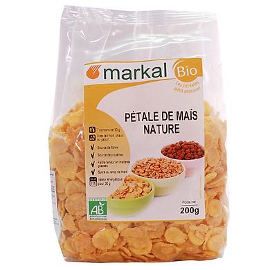 Ngũ cốc bắp (ngô) Hữu Cơ cán dẹp MARKAL túi 200g-Hàng nhập khẩu chính hãng từ Pháp