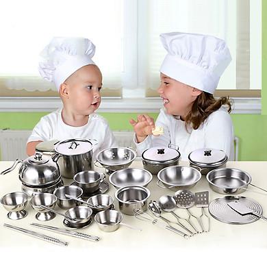 Bộ xoong nồi, bát, đũa và đồ dùng nấu ăn 40 chi tiết inox cho trẻ thỏa sức vui chơi, sáng tạo (tặng sticker Hàn Quốc)