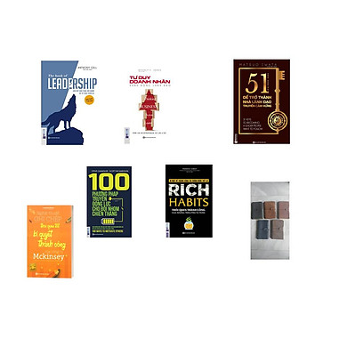 Combo 5 cuốn sách + 100 phương pháp truyền động lực cho đội nhóm chiến thắng + Rich Habits thói quen thành công của những triệu phú tự thân + Tư duy doanh nhân hành động lãnh đạo + 51 chìa khóa vàng để trở thành nhà lãnh đạo truyền cảm hứng + LEADERSHIP Dẫn dắt bản thân, đội nhóm và tổ chức vươn xa + ( tặng cuốn mckinsey + sổ tay bìa gia ngẫu nhiên)