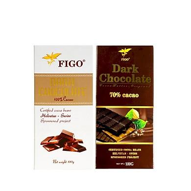 Combo 2 thanh Socola đen 100% cocoa và Sô cô la đen 70% cacao Figo (100g/thanh)
