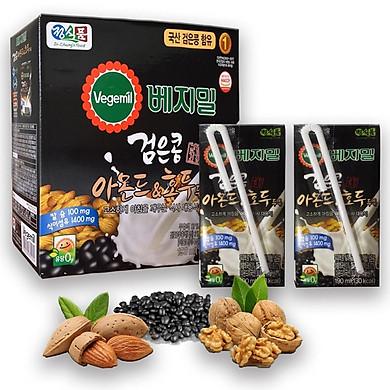 Sữa đậu đen óc chó hạnh nhân Vegemil Hàn Quốc - Xách 16 hộp (190ml/Hộp)