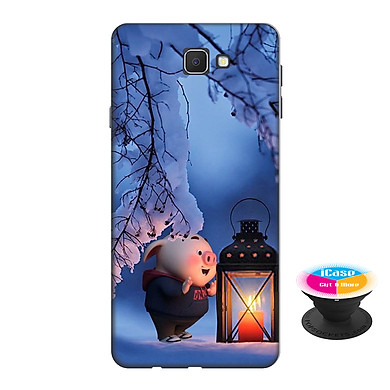 Ốp lưng nhựa dẻo dành cho Samsung J7 Prime in hình Heo Con Đèn Đêm - Tặng Popsocket in logo iCase - Hàng Chính Hãng