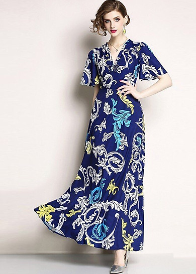 Đầm xòe đẹp cao cấp  kiểu đầm xòe dài dạo phố in họa tiết cổ v đính hạt hình bướm GOTI1031345
