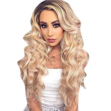 Gobestart Natural Colors Gradient Wig Long Curly Hair Synthetic Wig Fashion Costume Wigs