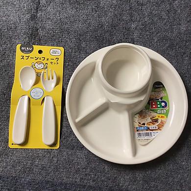 Bộ đồ dùng ăn dặm khay tròn và set thìa nĩa nhựa Inomata nhập khẩu từ Nhật