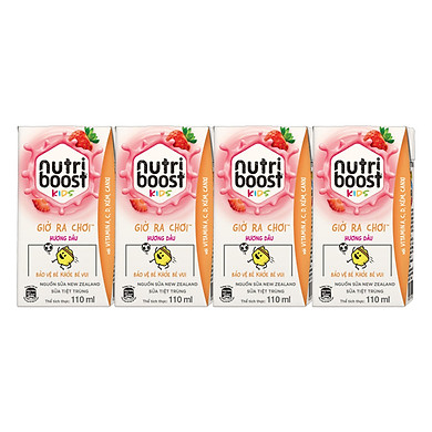 Lốc 4 Hộp Sữa tiệt trùng Nutriboost Kids Giờ Ra Chơi – Hương Dâu (110ml/Hộp)