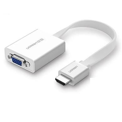 Cáp chuyển đổi HDMI sang VGA  có Audio Full HD có trợ nguồn Dài 15CM Màu Trắng Dây Dẹt Ugreen GK40247MM103 Hàng chính hãng