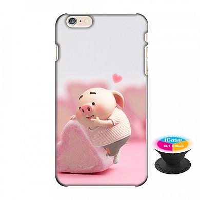 Ốp lưng nhựa dẻo dành cho iPhone 6 Plus in hình Heo Con Thử Bánh - Tặng Popsocket in logo iCase - Hàng Chính Hãng