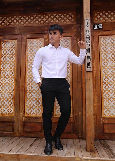 Áo Sơ Mi Nam Trắng Trơn Dài Tay Công Sở Lịch Lãm Hàng Hiệu CELEB SMTT33