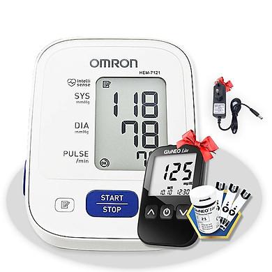 Máy đo huyết áp bắp tay Omron HEM-7121 + Tặng bộ đổi nguồn (OEM) + Tặng máy đo đường huyết Gluneo Lite Hàn Quốc