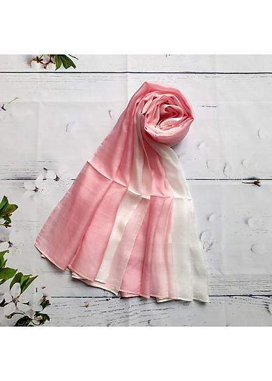 Khăn Lụa Tơ Tằm Trơn Silk4World (hồng - trắng)