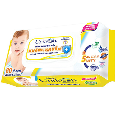 Khăn Ướt Unifresh Không Mùi Vitamin E 80M (80 Miếng)